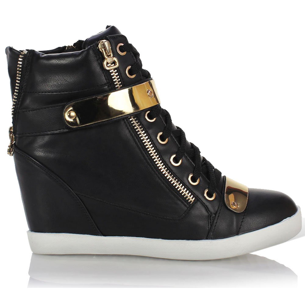 Wonderful WOMENS LADIES WEDGE CONCEALED HEEL HIGH TOPS PLATFORM